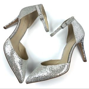 Aldo Anklam Silver Glitter Pointed Toes Pump Heels